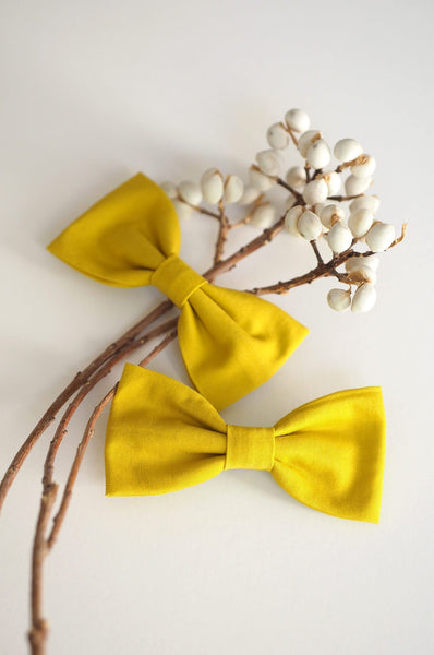 2 Long bow hair clips mustard Luciole et Petit Pois