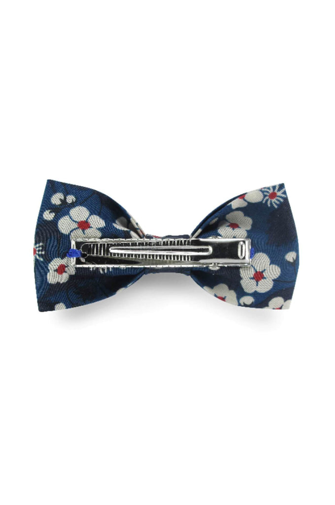 2 Long bow hair clips Liberty indigo Luciole et Petit Pois