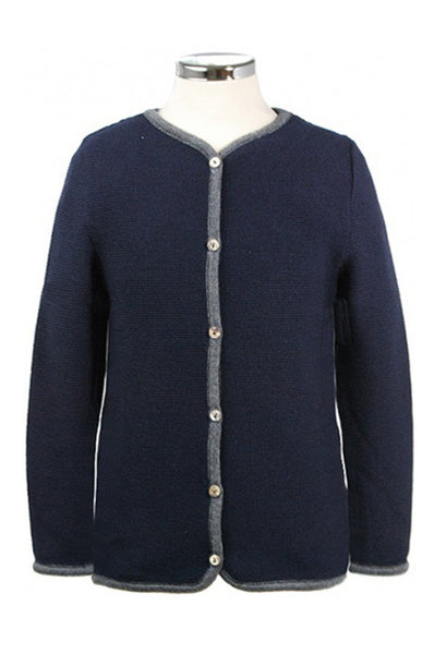 Cardigan Dark Blue With Gray