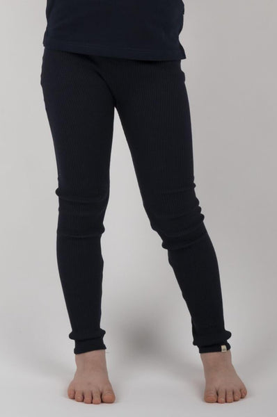 BIEBER Silk-Cotton Leggings Dark Blue minimalisma