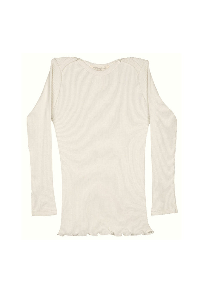 Silk-Cotton Belfast Top Cream