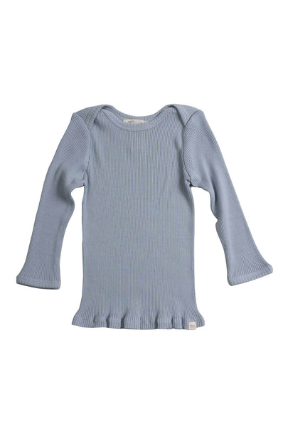 Silk-Cotton Belfast Top Fog Blue