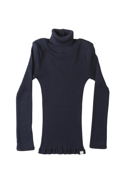 BUI Silk-Cotton Turtleneck Dark Blue