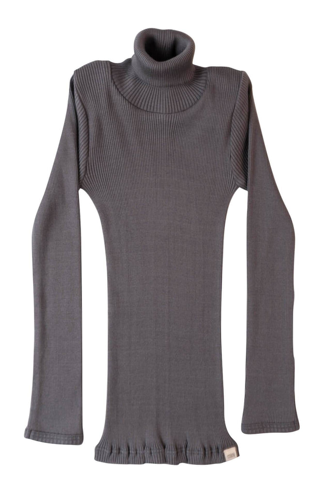 BUI Silk-Cotton Turtleneck Top Dark Grey