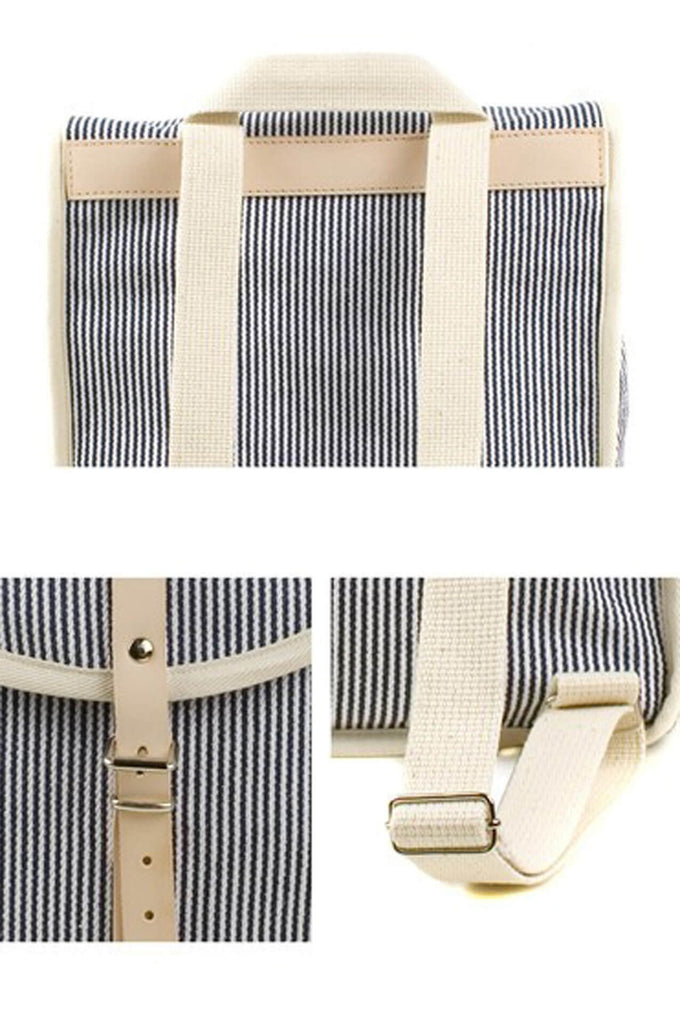 Women Backpack Blue Stripe Heap