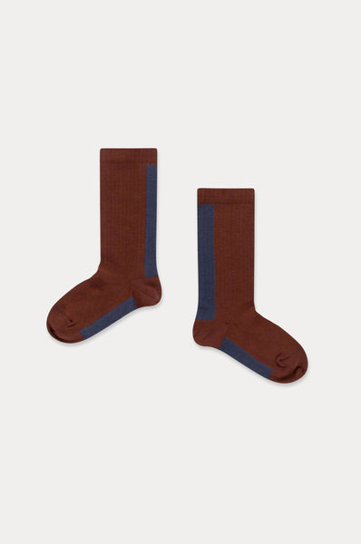Repose AMS SOCKS WARM PECAN STRIPE