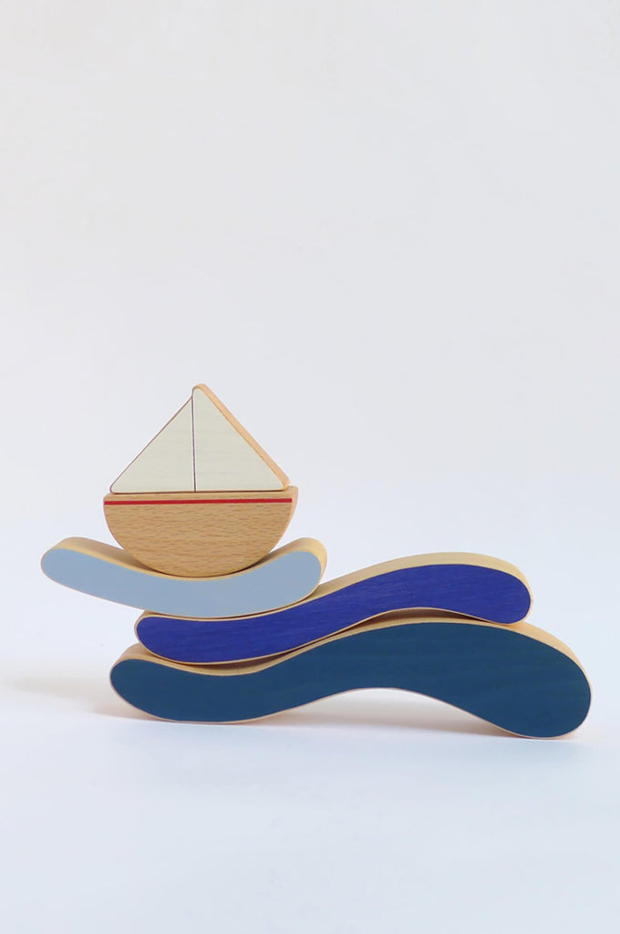 The Boat & Waves stacking toy The Wandering Workshop