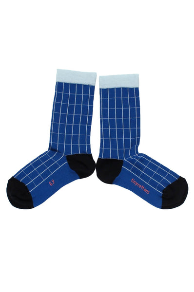 tinycottons  grid socks blue/light blue
