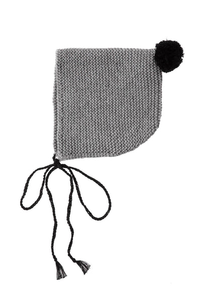 Tocoto Vintage Knitted Pompom Cap Grey