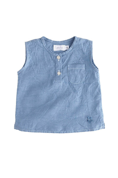 Tocoto Vintage Blue Chambray Tank Top