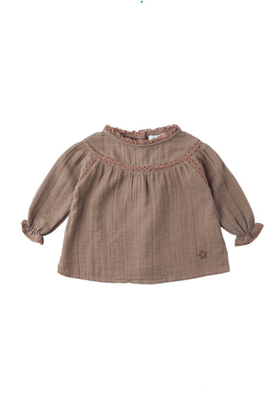 Tocoto Vintage Lace Baby Blouse Toffee
