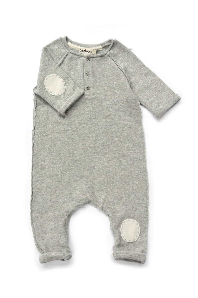 Treehouse Oniko Onesie with patch embroidery light grey marl