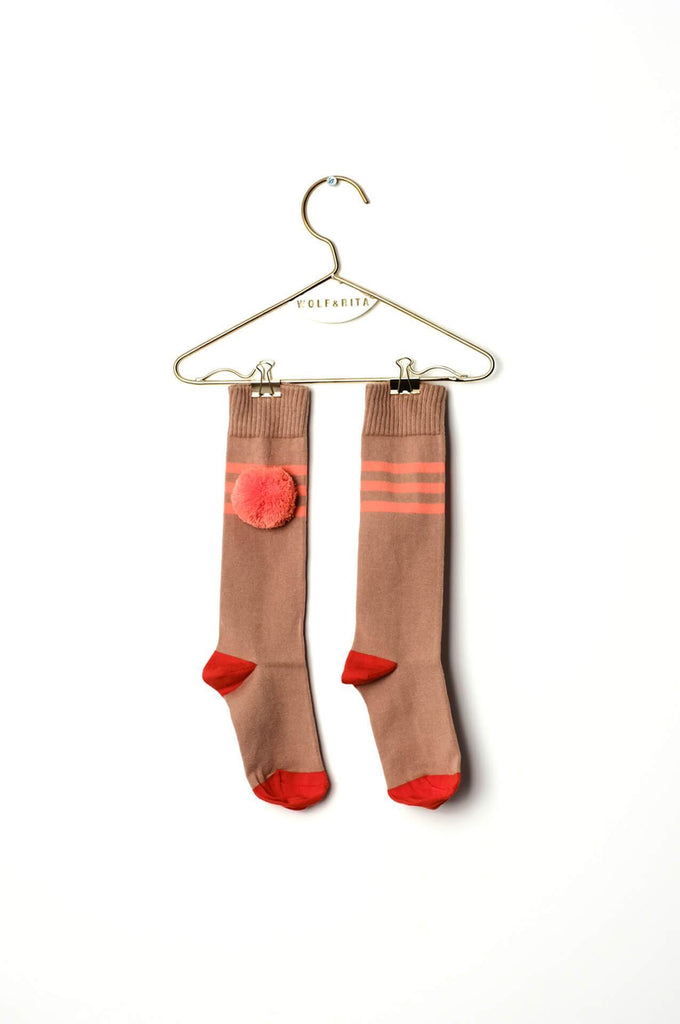 Wolf & Rita Kids Long Socks Coral Stripes