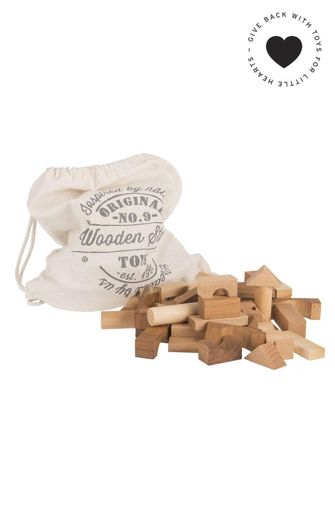 Natural wooden blocks, 100 pieces
