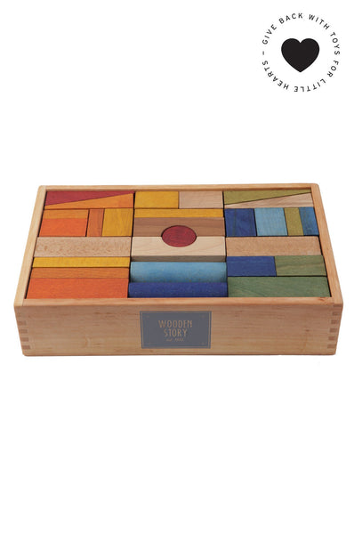 Rainbow blocks XL, 63 pieces Wooden Story
