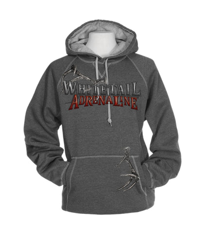 Heavyweight Grey Cross Stitch Hoodie | Rattling Antlers Design