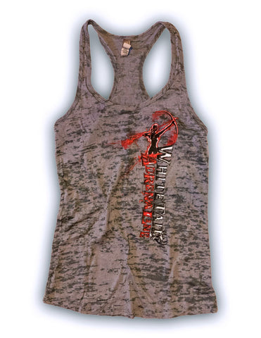 Ladies Charcoal Burnout Tank | Vertical Archer Red Ink