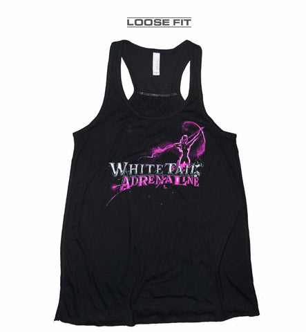 Ladies Black Racerback Loose Fit Tank | Archer