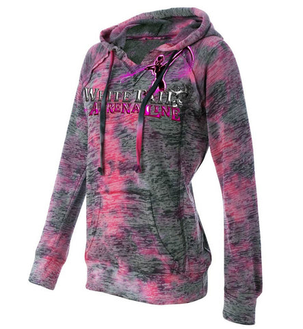 Ladies Raspberry Burnout Hoodie
