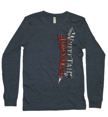 Navy Heather Longsleeve | Vertical Arrow with Sign