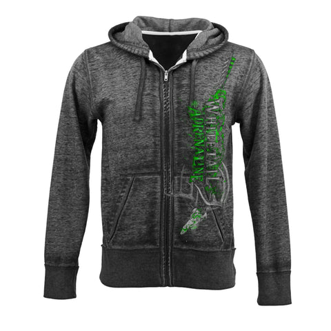 Twisted Black Burnout Zip-Up Hoodie | Vertical WA with Rack