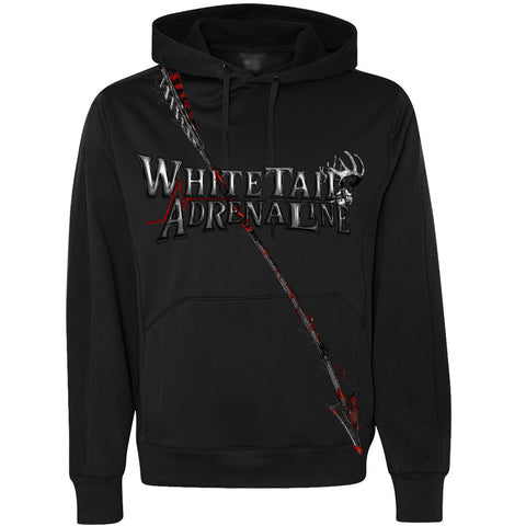 Mens Lighweight Polyester Black Hoodie | Blood Red Arrow Design