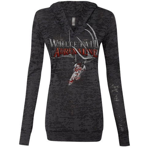 Ladies Hooded Black Burnout