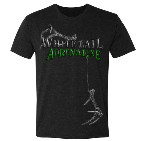 Men's Black Tri-Blend | Green Rattling Antlers