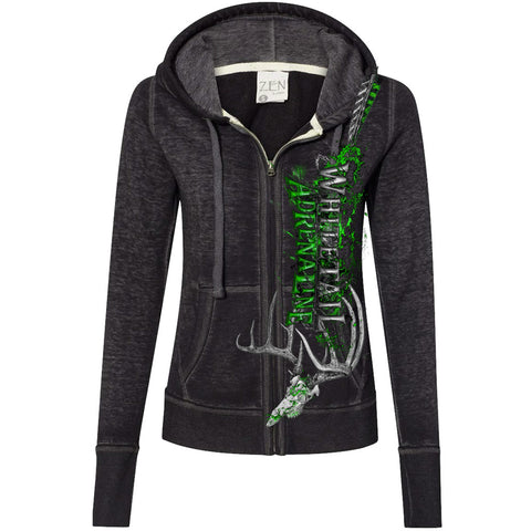 Ladies Twisted Black Burnout Zip-Up Hoodie | Vertical WA with Rack