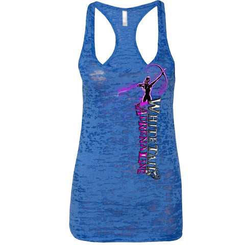 Ladies Royal Blue Burnout Tank | Vertical Archer_Pink