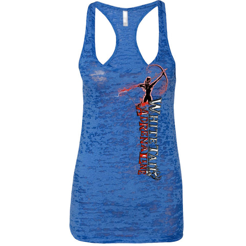 Ladies Royal Blue Burnout Tank | Vertical Archer_Red