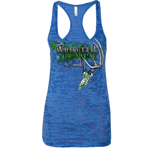 Ladies Blue Burnout Tank | 200 Grunge Buck_Green