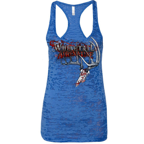 Ladies Blue Burnout Tank | 200 Grunge Buck_Red