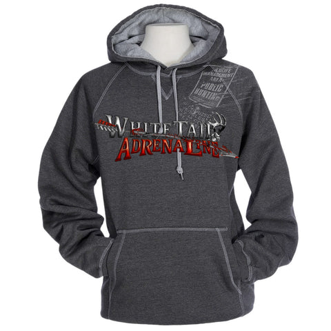 Heavyweight Grey Cross Stitch Hoodie | Sign with Arrow Design