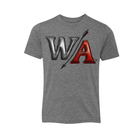 Youth Grey Heather Tee | W/A Red