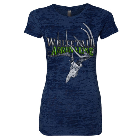 Ladies Navy Burnout Crew Tee | 200 Buck