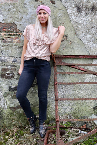 Rose gold sequin frill top