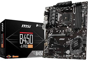 MSI ProSeries AMD Ryzen 2ND and 3rd Gen AM4 M.2 USB 3 DDR4 D-Sub DVI HDMI Crossfire ATX Motherboard (B450-A Pro Max)
