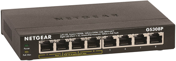 NETGEAR 8-Port Gigabit Ethernet Switch with 4-Port PoE (GS308P-100NAS)