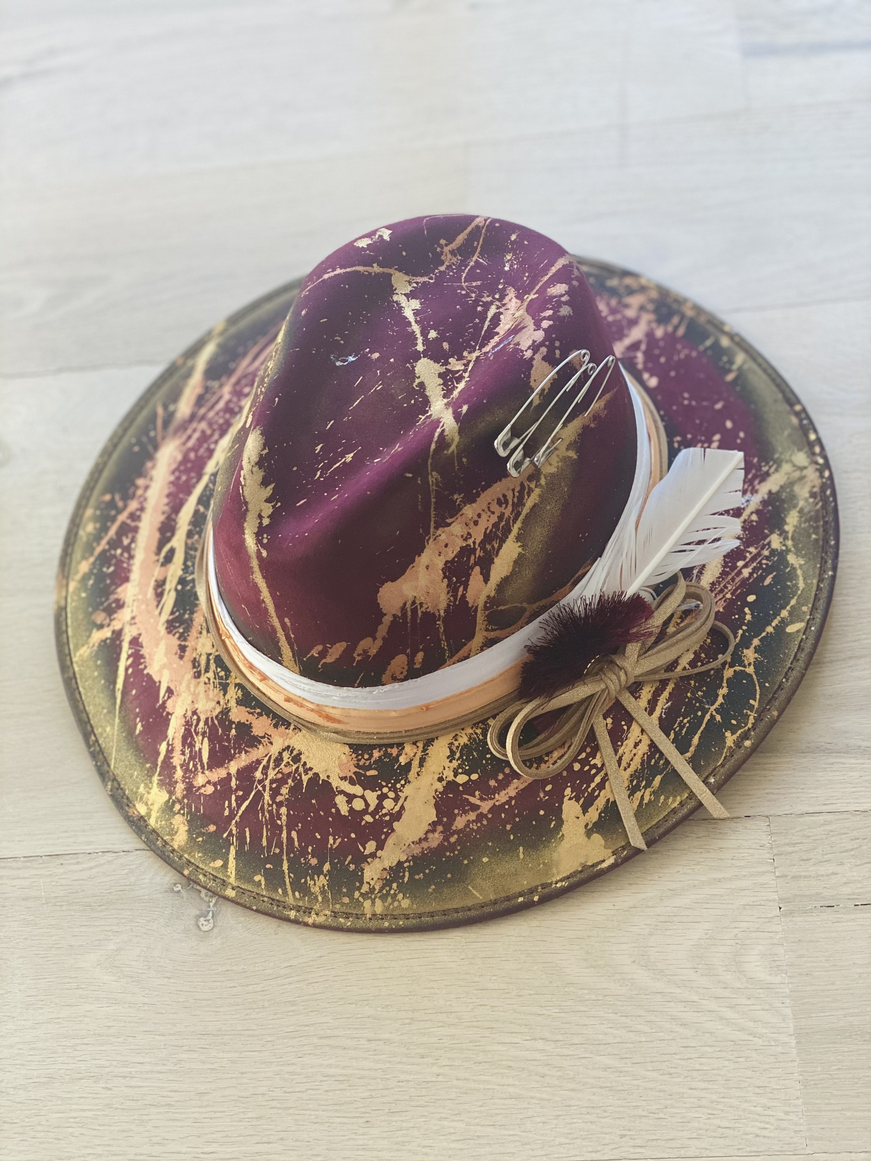 Maroon Custom Painted Fedora Hat - Aundrea Love Collection