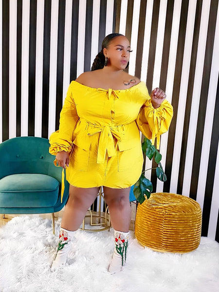 Mustard Tie Dress - Aundrea Love Collection
