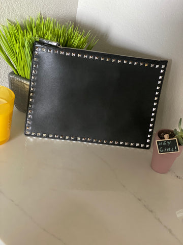 Black Faux Leather Pouch - Aundrea Love Boutique