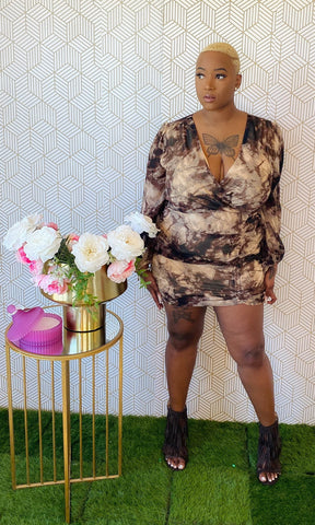 Safari Tie-Dye Ruched Dress Curvy - Aundrea Love Collection