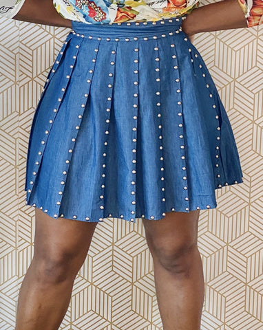 Denim Studded Skirt - Aundrea Love Collection
