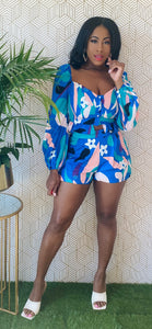 Blue Love Printed Shorts Set - Aundrea Love Collection