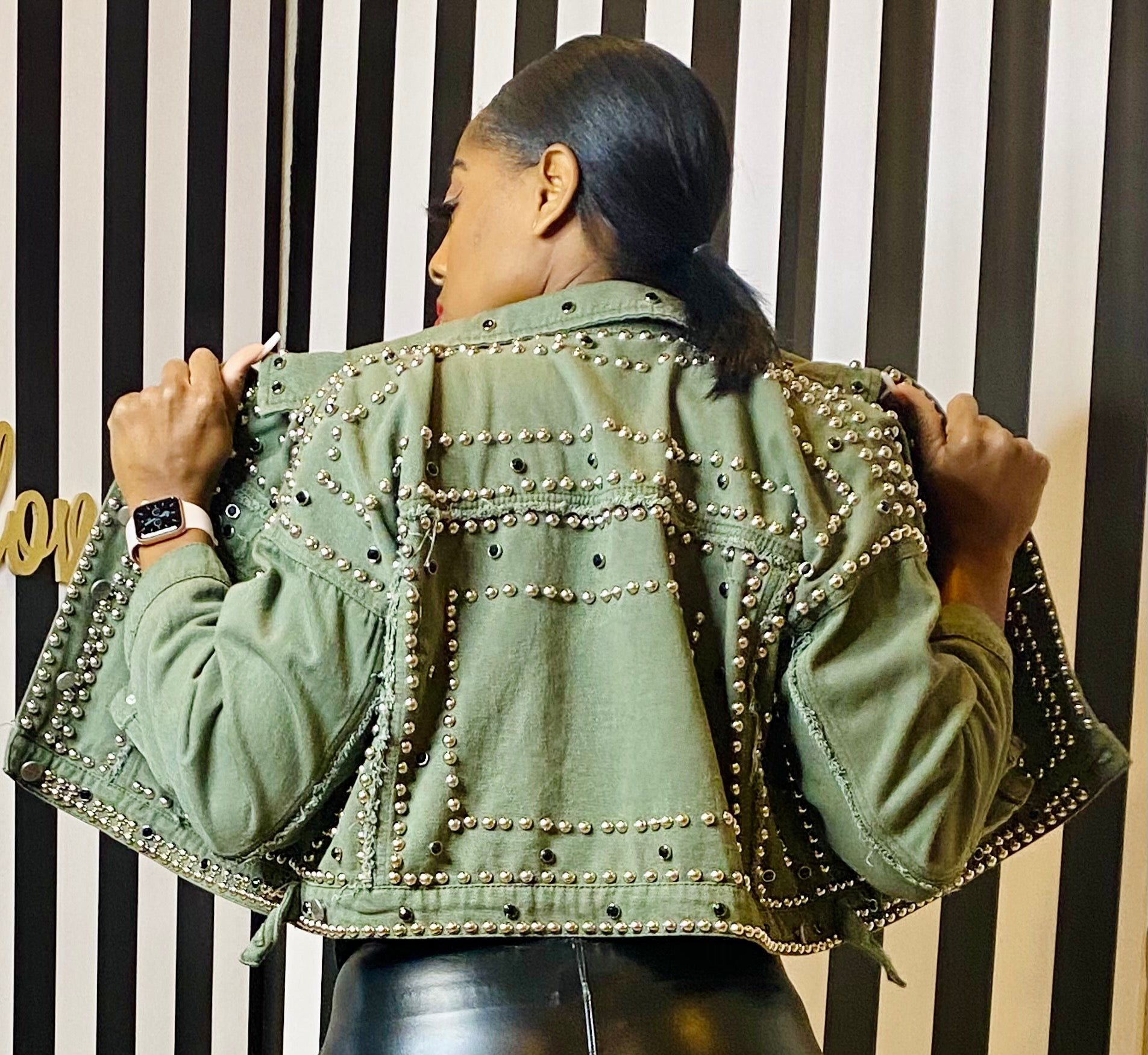 Studded Out Jean Jacket - Olive - Aundrea Love Collection