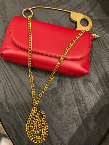 Safety Pin Clutch with Chain - Aundrea Love Boutique