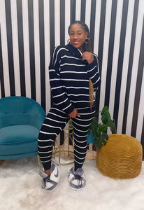 Black & White Striped Lounge Set - Aundrea Love Boutique
