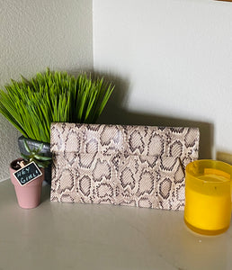 Taupe Snakeskin Clutch - Aundrea Love Boutique