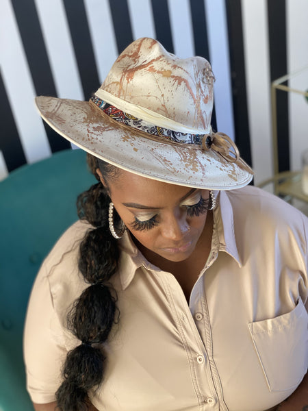 Taupe Custom Painted Hat - Aundrea Love Collection